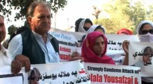 Manifestación en Paquistán en apoio de Malala Yousafzai, símbolo da loita das nenas pola educación