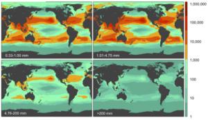 Lugares nos que son máis abundantes os plásticos en función do tamaño das pezas / Laurent Lebreton