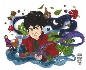 Imaxe de Rosalía elaborada por Aurora Cascudo para a Deputación da Coruña
