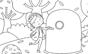 Nena levando unha botella de vidro ao colector nun parque