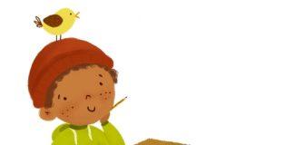 Neno pensativo en pupitre con caderno e paxaro